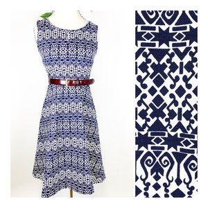 Talbots- Geo Print White and Navy Sheath Dress XS